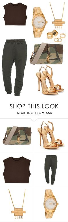 """""""Untitled #2471"""" by princessceairra ❤ liked on Polyvore featuring Yves Saint Laurent, Giuseppe Zanotti, adidas Originals, Stella Valle, Rolex and Pieces"""