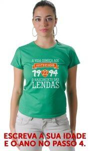 Camiseta A vida começa aos com pagamento facilitado em até 18x no cartão! Enviamos para qualquer cidade do Brasil.