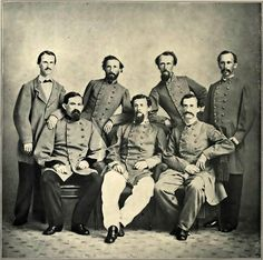 Last to Surrender: believed to be the last Confederate war photo.  Standing L to R: David French Boyd, Maj of Engineers; D. C. Proctor, First Louisiana Engineers; unidentified; William Freret. Seated: Richard M. Venable; H. T. Douglas, Col. of Engineers; and Octave Hopkins, 1st LA Engineers.