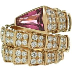 Pre-owned Bulgari Serpenti Rubelite Diamond Gold Double Coil Ring ($20,900) ❤ liked on Polyvore featuring jewelry, rings, more rings, pre owned engagement rings, pink sapphire ring, pink ring, engagement rings and gold diamond rings