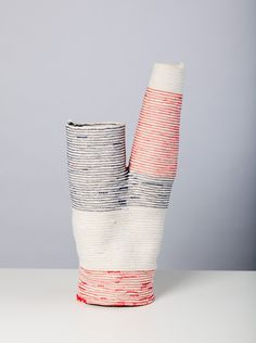 Torse is a delicate bifurcated trunk-shape vessel made from #6 100% cotton sash cord and sewing thread. The resulting textile is flexible but stiff enough to hold its shape. $200.00 - On Sale