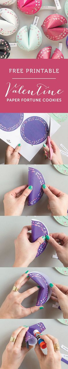 Valentines on a budget! Free printable paper fortune cookies. A cheap yet cute alternative to valentine cards. www.evermine.com