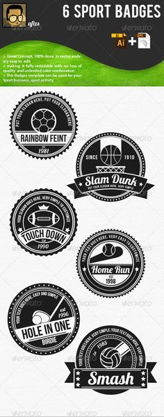 Sport Badges  #GraphicRiver         in this Template you will get .ai and 2 .eps (eps with editable text and another eps with outlined text) file format   Feature:   > 6 Sport badges   > Great Concept, 100% done in vector   > making it fully resizable with no loss of quality and unlimited color combination   > This badges can be used for your sport business, sport Event, sport activity and etc.   > All font is free font , font name : Bebas, Bebas Neue and Lobster 1.4  all of font can…