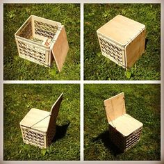Milk Crate Chair for Camping or Vinyl Storage Upgrade : 4 Steps (with Pictures) - Instructables Milk Crate Chairs, Milk Crate Furniture, Crate Stools, Diy Furniture, House Furniture, Camping Furniture, Camping Chairs, Milk Crate Storage, Storage Stool