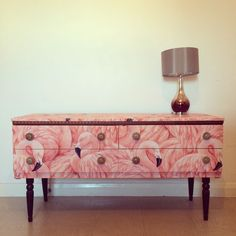 Upcycled Dressing Table Sideboard In Flamingoes
