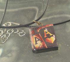 Pocket ACES Poker Black Scrabble Tile Flaming Aces by ChezChani