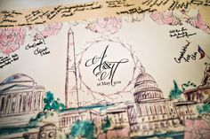 Hand Painted DC Wedding Invitations & More - United With Love Dc Monuments, Washington Dc Wedding, Dc Weddings, Wedding Guest Book, Wedding Planning, Wedding Ideas, Book 1, Wedding Bells, Vintage World Maps