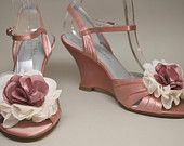 Custom Wedding Shoes -- Antique Pink Wedding Wedges with Cream and Matching Antique Pink Flower Adornment