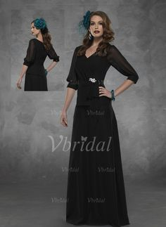 Mother of the Bride Dresses - $130.78 - A-Line/Princess V-neck Floor-Length Chiffon Mother of the Bride Dress With Ruffle Crystal Brooch Bow(s) (00805007205)