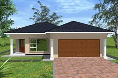 Overall Dimensions- x mBathrooms- 2 Car GarageArea- Square meters House Plans With Photos, My House Plans, House Floor Plans, Village House Design, Village Houses, Beautiful House Plans, Beautiful Homes, Morden House, Philippines House Design