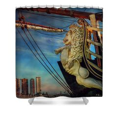 Replica Shower Curtain featuring the photograph The Figurehead by Hanny Heim, Snowbird Photography #photography   #spain   #cities   #malaga   #boats   #ships