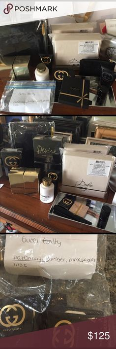 Gucci, D&G Beautiful perfumes D&G note book, D&G head band , Gucci mirror, perfumes, creams ,lotions and potions.  I can make up any gift for you Gucci boxes D&G  gift bags.  Gucci guilty black , Gucci guilty,  bamboo D&G desire. I always give my clients extra goodies Gucci Accessories