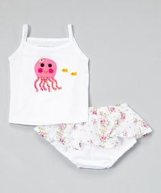 Another great find on #zulily! White Octopus Tank & Flower Diaper Cover - Infant by Victoria Kids #zulilyfinds