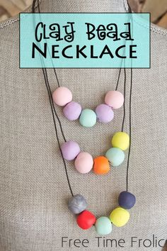 Fimo Clay Bead Necklace - Free Time Frolics
