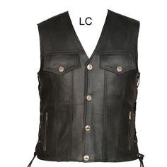 68 Leather Side Laced Biker Style Waistcoat Vest Black New