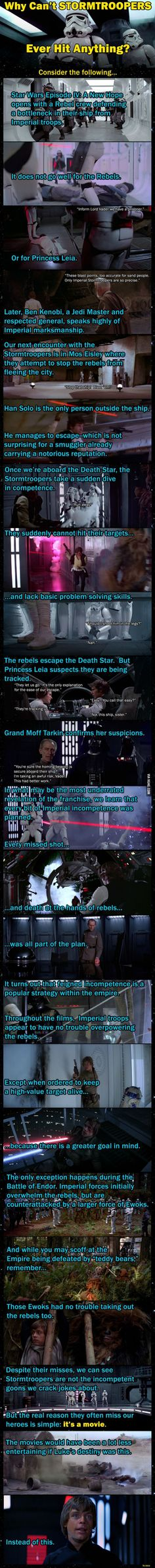 Great theory! Ever wondered why the Stormtroopers in the original Star Wars trilogy always missed hitting important characters? Sure, we've seen Princess Leia got hit once, but for the most part, they have terrible aim.This image explains the real reason why:    Via 9gag