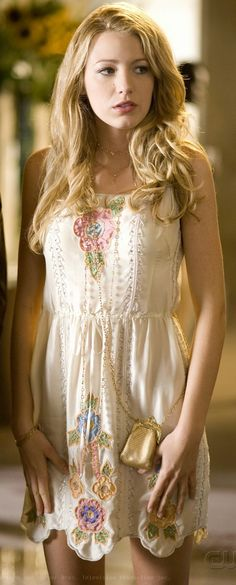 "Blake Lively portrays the character of Serena van der Woodsen wearing Blumarine s/s 2006 in the episode ""The Wilg Brunch"" in the tv show ""Gossip Girl""....."