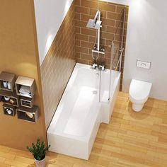 Small Bathroom Layout, Family Bathroom, Small Bathrooms, Contemporary Baths, Modern Baths, Modern Shower, Modern Bathroom, Bungalow Bathroom, L Shaped Bathroom