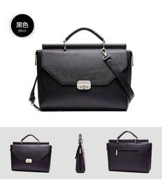Twisted-Lock Flap Satchel, Black , One Size - MBaoBao | YESSTYLE