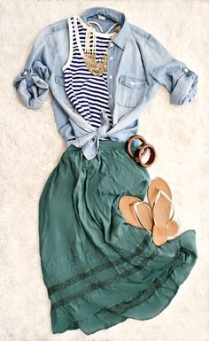 I like this whole outfit. so comfortable. teal skirt, with the black & white stripes, and the chambray button-up. :)