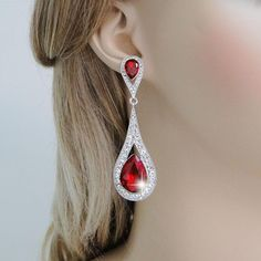 Amazon.com: EVER FAITH® Silver-Tone Art Deco Teardrop Austrian Crystal Red Dangle Earrings: Jewelry