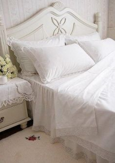 Amazon.com: Shabby and Elegant White with Corchet Lace 4pc Bedding Sheet Set, King Size: Home & Kitchen