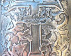 Initial letter M monogram picture in Pewter by ARCHIVES on Etsy
