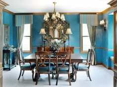 Green Blue Paint Colors for Classic Dining Room