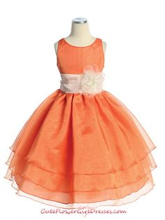 Orange Colorful Organza Flower Girl Dress