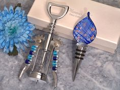 Murano Teardrop Design Blue and Gold Bottle Stopper and Opener Set - Italian Wedding Favors