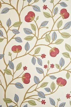 Medlar Wallpaper Cream wallpaper with medlar fruit tree print in Aqua/Blue, Green and Red.