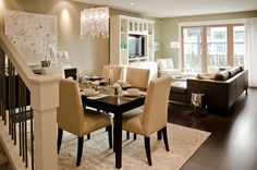 Suzie: Twenty One Two - Contemporary dining room with taupe walls paint color, glossy espresso ...
