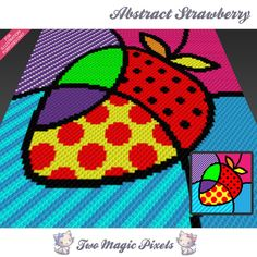Abstract Strawberry crochet blanket pattern; c2c, cross stitch; graph; pdf download; no written counts or row-by-row instructions by TwoMagicPixels, $3.99 USD
