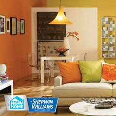 Image result for orange yellow wall living room