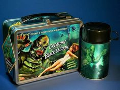 Lunch Box Thermos, Tin Lunch Boxes, Vintage Lunch Boxes, Metal Lunch Box, Vintage Tins, Vintage Stuff, Vintage Metal, Space Ghost, Scary Monsters