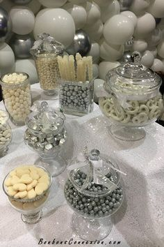 White and silver candy buffet/bar at the salon Let's Get Married (Place Bonaventure) Wedding Candy Table, Candy Bar Party, White Silver Wedding, Candy Buffet Tables, Lolly Buffet, Silver Party Decorations, Bar A Bonbon, 25th Wedding Anniversary, Candy Bars