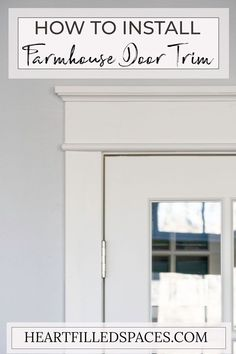 French Door Makeover How to update builder grade door casings to Farmhouse/Craftsman style trim. Farmhouse Interior Doors, Interior Door Trim, Farmhouse Trim, Farmhouse Design, Farmhouse Decor, Modern Farmhouse, Farmhouse Style, Diy Interior Door Makeover, Masonite Interior Doors
