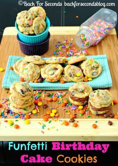 Soft and chewy Funfetti Birthday Cake Cookies. Cake batter flavored dough made without cake mix, loaded with sprinkles, chocolate chips, and Reese's! YUM!