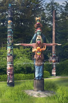 Creative self portraits of a family as a totem pole in Ketchikan Alaska  Angela Marvel Photography | Self Portraits