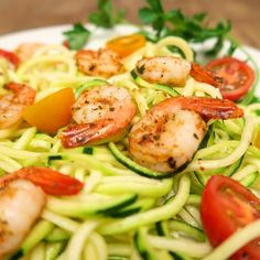 "TGIF!  Hope everyone's been having a great week so far.  Who's got exciting plans for the weekend?  We'd love to hear them.  The recipe for this bright and exciting dish is actually very easy.  All you need is a spiralizer to prepare the zucchini noodles.  Lightly Sauté them in olive oil and Feast Seasoning Rock'n Garlic to taste.  Season shrimp with Feast Seasoning The Works ""Spicy"" and sauté in olive oil until cooked through.  Add a few sliced cherry tomatoes freshly squeezed lemon juice…"