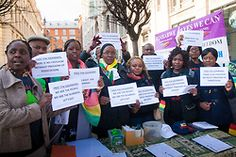 London, March 14th 2015. 'Zimbabwe Vigil protest group which has spent every Saturday afternoon since 2002 demonstraing outside the country's embassy in London protest for the release of democracy activist Itai Dzamara who, it is suspected, has been abducted by the country's notorious Central Intelligence Organisation (CIO). Despite a High Court Order ordering the state to actively search for Dzamara, he has still not been located. Zimbabwean security officials hhave a track record for…