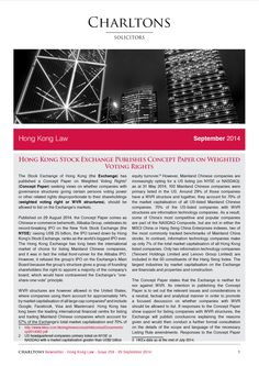 Hong Kong Law Newsletter - 29 September 2014 - Hong Kong Stock Exchange publishes concept paper on weighted voting rights