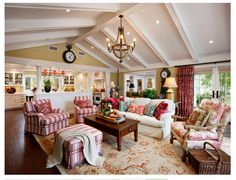family room ideas.  Color scheme is inviting - love the red checks