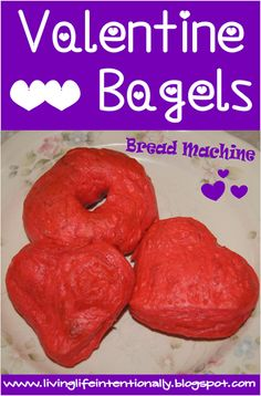 Make your kids a special valentines day meal - Heart Valentine Bagels are EASY to make using a bread machine! Bread Machine Bagel Recipe and full instructions included!