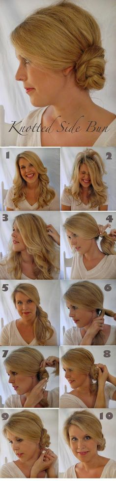 Knotted Side Bun Hair tutorial