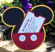 Mickey Mouse Invitation - Set of 8 -Mickey Mouse Invites, Mickey Mouse Party, Mickey Mouse Party Invitations. $32.00, via Etsy.
