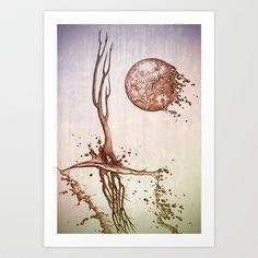 Moon and tides Art Print by Jordygraph - $15.60