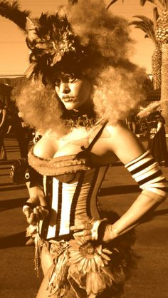 Vaudeville Circus Burlesque Costume by Fontaine Lane.   Stripes! Flowers on skirt! That hat! Arm warmers!
