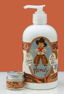 """Dolce Mia Howdy Sweet Almond Shea Butter Natural Lotion With Organic botanicals 12 oz. Pump by Dolce Mia Designs. $22.00. Natural Lotion. Moisturizing Shea Butter. """"Perfect for cowboys, big and small. Everyone loves our Almond scent."""". Made in USA. Organic Ingredients. """"Made in Northern California, our Howdy shea butter lotion is full of fresh, organic botanicals and natural seed oils that work tirelessly to sooth and improve skin. Contains organic extracts of lav..."""