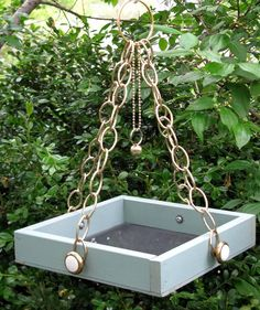 The Bellbird - Hanging Bird Feeder Tray, Upcycled And Vintage Materials